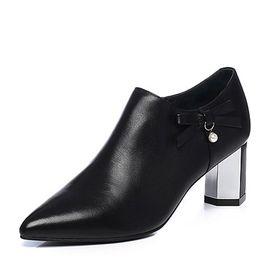 Tata 他她2018秋黑色牛皮革通勤蝴蝶结尖头六棱跟踝靴女短靴 S3A26CD8