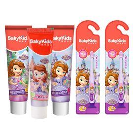 迪士尼 索菲亚公主款儿童成长牙膏牙刷(鲜橙味60g+草莓味60g+青宁味60g+牙刷*2支)