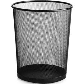 家杰 垃圾桶中号稳固金属铁丝网办公家用圆纸篓 卫生桶 φ265mm 黑色 JJ-105