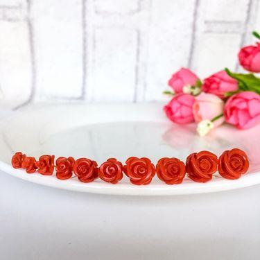 仙蒂瑞拉 【玫瑰花语】9mm时尚沙丁珊瑚18K耳钉