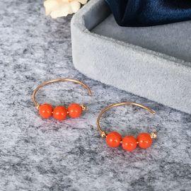 仙蒂瑞拉 4mm时尚沙丁珊瑚18K金耳环