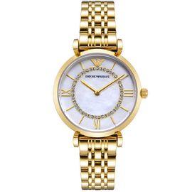 EMPORIO ARMANI 阿玛尼手表 时尚镶钻满天星系列 香槟金珍珠贝母表盘 石英女表