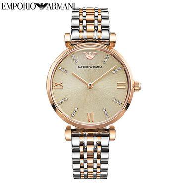 EMPORIO ARMANI 阿玛尼手表 钢制表带时尚休闲简约石英 女士腕表