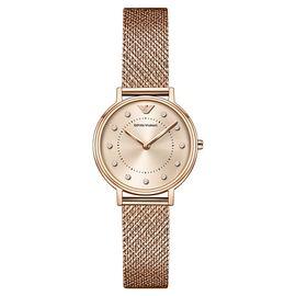 EMPORIO ARMANI 阿玛尼满天星手表女玫瑰金色 时尚金属编织钢带女士石英手表