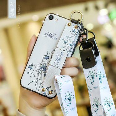 麦阿蜜 OPPO R9s手机壳r9splus保护套全包防摔复古文艺碎花布纹腕带支架TPU软边钻时尚女款