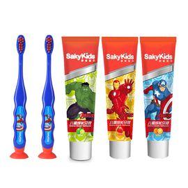 舒客宝贝 迪士尼英雄款儿童成长牙膏牙刷(鲜橙味60g+草莓味60g+青柠味60g+牙刷*2支)
