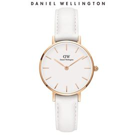 Daniel Wellington 丹尼尔惠灵顿 DW手表女 金边白色皮质表带28mm白盘欧美简约风格手表DW00100249