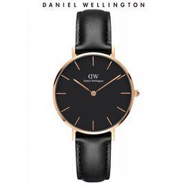 Daniel Wellington 丹尼尔惠灵顿 手表DW女表32mm金色边黑盘皮带女士手表学生手表 DW00100168