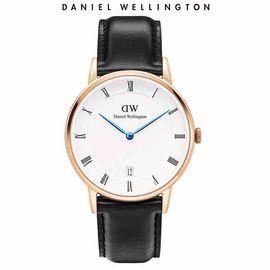 Daniel Wellington 丹尼尔·惠灵顿手表 玫瑰金色表盘 情侣款 时尚日历简约蓝针腕表