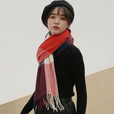 苏吉思 格子围巾女冬季2018仿羊绒围巾流苏披肩女士羊毛针织围脖LP-121
