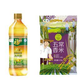 中粮 米油伴手礼组合:福临门黄金产压榨玉米油900mL、初萃五常香米225g