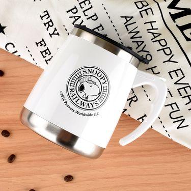 SNOOPY 史努比304不锈钢马克杯男女办公室带盖带手柄水杯隔热杯家用咖啡杯泡茶可爱胖胖杯