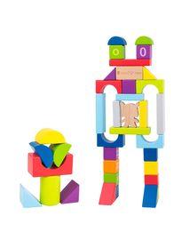 木制积木/大颗粒积木 米兔Hape 70粒益智积木 颜色 几何图形 数字 字母 婴幼儿启蒙拼搭积木 男孩女孩益智玩具