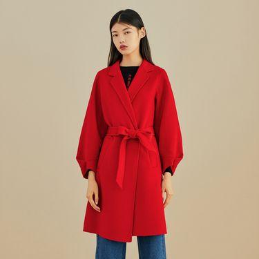 女式大衣 红色毛呢外套2018冬季新款修身系带长袖长款大衣双面呢太平鸟女装