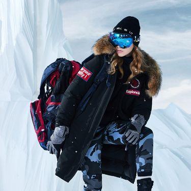 女式羽绒服 2018冬季新款运动极寒中长貉子毛鹅绒女士羽绒服
