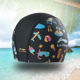 泳帽 李宁青少年系列PU印花帽游泳帽