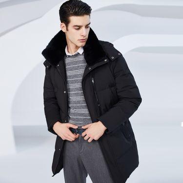 男式羽绒服 2018新款男士羽绒服冬季中长款可脱卸帽獭兔毛领外套