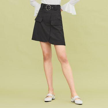 半截裙 半身裙女高腰2018秋季新款时尚金属条纹性感A字裙短裙太平鸟女装