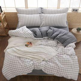 南极人 北欧素色水洗棉四件套床上用品200*230cm 水洗工艺纱织细密