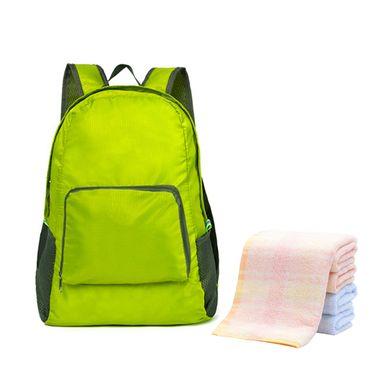 洁丽雅 纯棉抗菌毛巾3条+可折叠防水双肩包