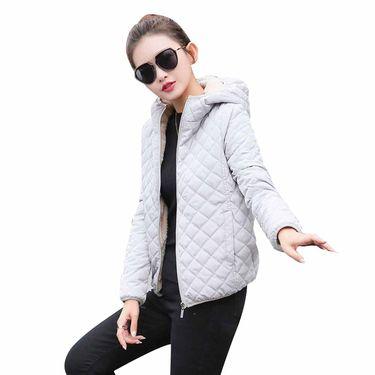 北极绒 时尚休闲内里加绒连帽轻薄显瘦女士短款棉衣外套