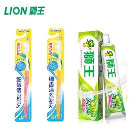 狮王 3件套 2支细齿洁力护龈牙刷 1支劲爽白牙膏90g香翠苹果
