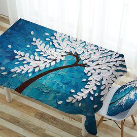 沁园 家用数码打印桌布台布防水桌布棉麻长方形餐桌布