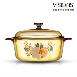 World Kitchen 康宁  VISIONS VS-22-FLR 晶彩透明锅 2.25L花卉汤锅VS-22-FLR