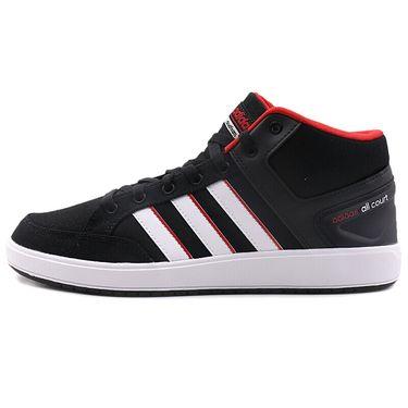 阿迪达斯 Adidas男子运动鞋高帮耐磨缓震帆布板鞋黑红休闲鞋 DB0389