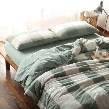 MYYOUR 家纺新款北欧时尚简约亲肤璞素水洗棉床品四件套 1.8米-绿大格