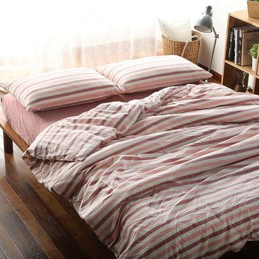 MYYOUR  家纺新款北欧时尚简约亲肤璞素水洗棉床品四件套 1.8米-粉条纹