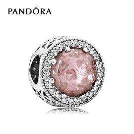 PANDORA 潘多拉DIY纯银猫眼式粉色圣诞切面锆石串珠 791725NBP