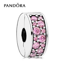 PANDORA 潘多拉 粉色闪烁优雅925银固定扣ESSENCE系列791817PCZ