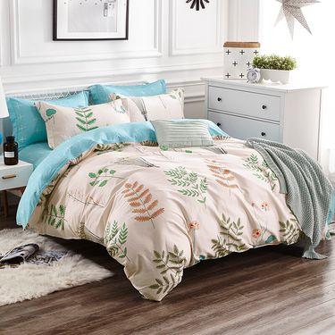 九洲鹿 套件家纺 全棉床上用品斜纹印花四件套 床单被套 松香迷情 1.5/1.8米床 200*230cm