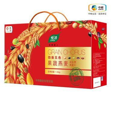 中粮 悦活 均衡五色果蔬燕麦礼盒 1400g 蔬菜代餐粥 咸味即食燕麦片 五谷杂粮果蔬纤维