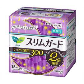 花王 Merries日本进口花王乐而雅S系列 敏感肌超薄瞬吸 夜用护翼型卫生巾 30cm 15片 超薄型