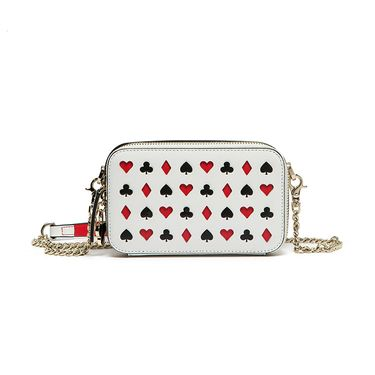 ELLE 女包新品时尚牛皮扑克镂空图案单肩 斜跨 链条小方包80282