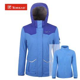 探路者 户外冲锋衣女式二合一两件套防风防水冲锋衣TAWE92911