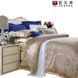富安娜 巴比伦色织提花100%纯棉床品四件套  1.5床