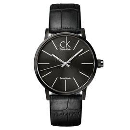 CK 卡文克莱(Calvin Klein)手表 男表黑盘黑色皮革表带石英表K7621401