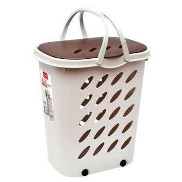 Jeko&Jeko 大号46L手提带轮洗衣篮SWP-6274 脏衣篮有盖手提收纳箱脏衣篓
