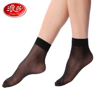 浪莎 5双装水晶丝夏季超薄女短袜