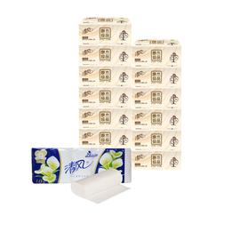 清风 原木3层130抽12包面巾纸+10包卷纸