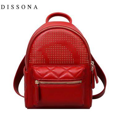 DISSONA 迪桑娜双肩包女真皮新款迷你小背包休闲牛皮小包包手提菱格双肩包 8171AS5306