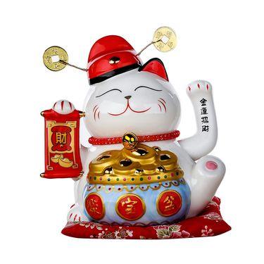 奇居良品 陶瓷招财猫存钱罐摆件 聚宝盆 大号 SN030JBPD