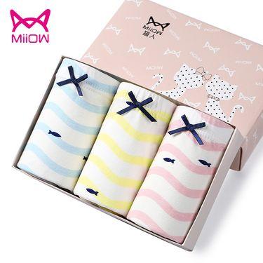 Miiow/猫人 女童儿童内裤三角少女棉质卡通印花中大童学生女孩3条装