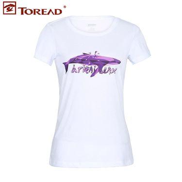 探路者 T恤 2018春夏新款户外女时尚印花棉感透气短袖T恤TAJG82886