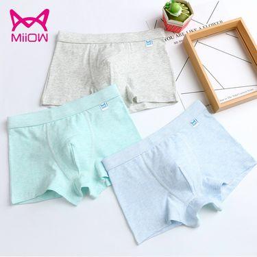 Miiow/猫人 儿童内裤男童纯棉平角裤中大童学生短裤3条装