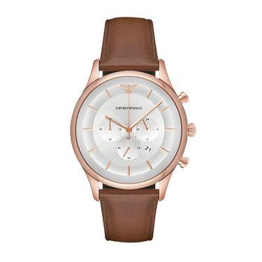 EMPORIO ARMANI  手表 皮质表带男士经典时尚休闲石英腕表 AR11043