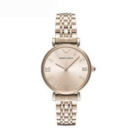 EMPORIO ARMANI 阿玛尼 简约钢带女表水钻圆形石英手表腕表AR11059